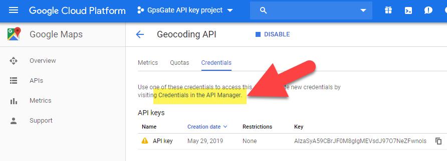 Generate a Google Geocoder API key to use with GpsGate